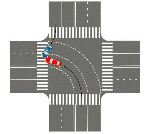 Если встречный автомобиль поворачивает направо в другую полосу