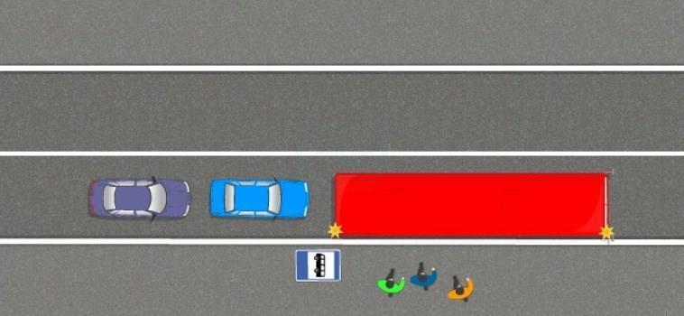 Объезд автобуса по сплошной линии