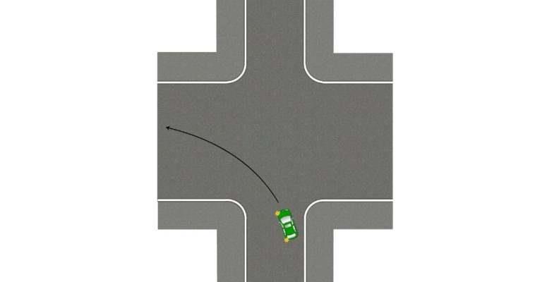 Выезд на встречную при повороте налево без разметки