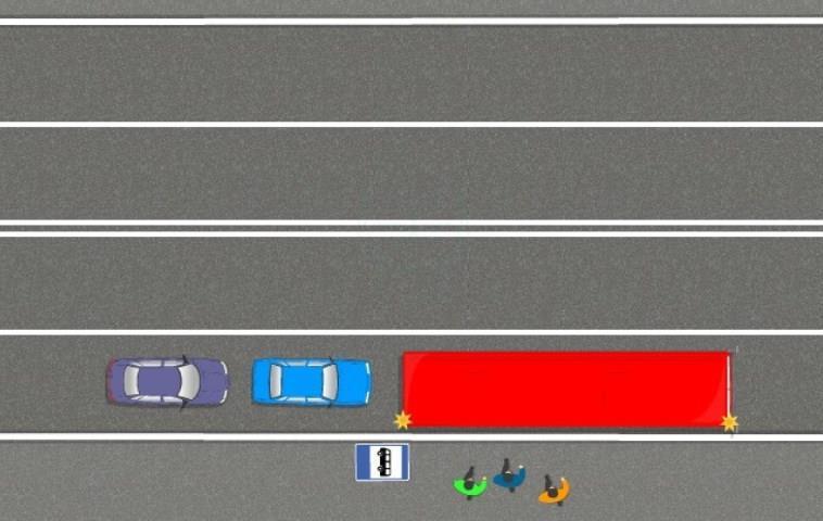 Опережение затормозившего автобуса по сплошной